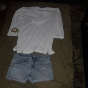 American Eagle Stretch Distressed Shorts, Size 8